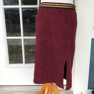 Maeve Designs Quilted Merlot Pencil Skirt w/Bling